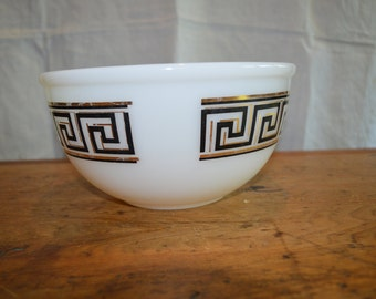 Vintage FIRE KING BOWL. Great Black and Gold Geometric Design.