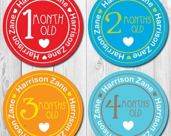 Personalized Boy Monthly Stickers, Baby Month Stickers Personalized, Milestone Stickers, Bodysuit Stickers Boy, Name Stickers, Pastel