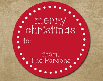 Round Christmas Gift Labels, Holiday Gift Stickers, Merry Christmas, Personalized Christmas Labels