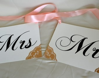 Mr and Mrs Chair Sign, Gold Doilies Details, Peach Ribbon