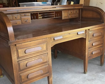 1900 1950 S Antique Roll Top Secretary Desk