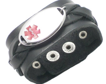Engraving Included - Wide Leather Adjustable Medical Alert ID Bracelet - Teens, Womens & Mens - Engraving Included!!