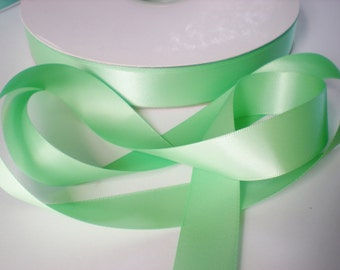 Mint green satin ribbon, double sided, 7/8ths inch width