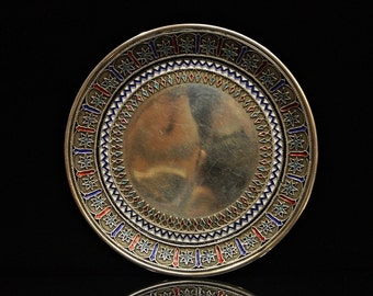 Antique original silver enamel russian 1878 dated plate