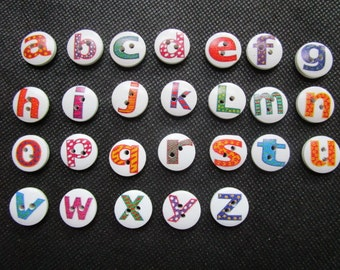New 200pcs 15mm Mixed Wood A-Z Alphabet Buttons Round Sewing Buttons 2-Hole Letters For Scrapbooking Baby Shower Wedding Deco