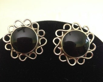 Mexico 925 Sterling Silver Onyx Pierced Earrings