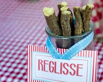 Lot of 10 labels wedding |esprit guinguette| for candy bar