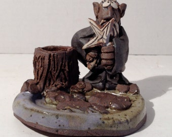 1979 Handmade Clay Model Troll  Wizard Candle Holder