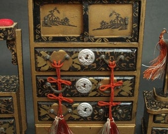 Vintage Miniature Set Of Traditional Japanese Furniture: Chest, Dresser,  Sewing Drawer
