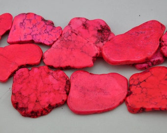 Pink Turquoise Beads,Slab Turquoise Beads,Turquoise Stone,Gemstone Beads---30mm-40mmm--8 Pieces---S0072