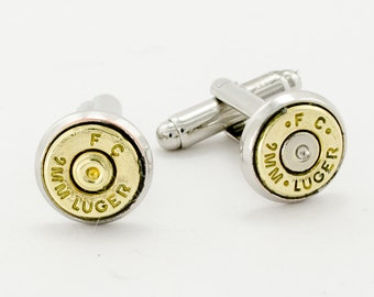 Groom Cuff Links, 9MM Bullet Cufflinks a Set of Real Bullet Cuff Links. Grooms Cufflinks. FREE SHIPPING