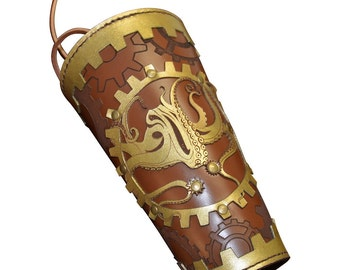 Steampunk Leather Arm Bracer with Octopus and Gears - #DK6073
