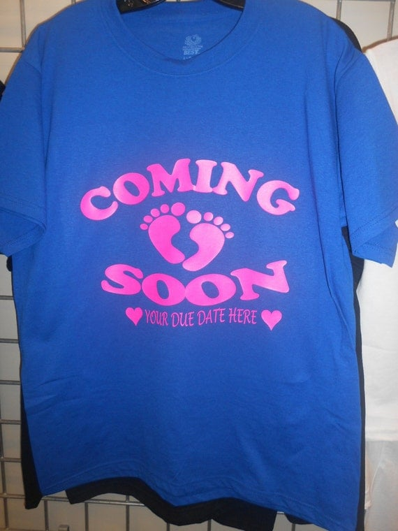 Coming soon custom pregnancy announcement tshirt by for Custom shirts fast delivery