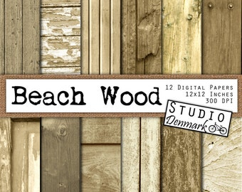 Wood Digital Paper - Beach Wood Textures - Driftwood Backgrounds Commercial Use - 12in x 12in 300 dpi jpg  - Instant Download Wood Texture