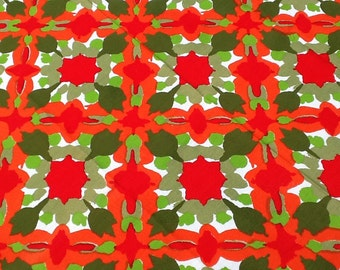 Vintage Vera Tablecloth 1960s Mod Floral Print 48x50 id Century Holiday Christmas
