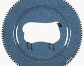 "Warren Kimble ""Barnyard""  - Sheep - Lamb - Country Folk  Art Sakura Salad Dessert Plate 8.25""  ""Mint"""