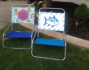 Hand Painted Preppy Beach Chair