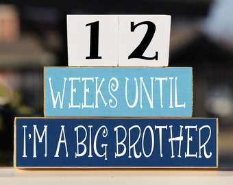 Big Brother Blocks, Wooden Blocks, Countdown Blocks, Pregnancy Countdown, Big Brother Gift, Pregnancy Announcement, Pregnancy Gift, New Baby
