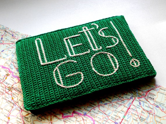 Father's Day Gift, Travel Passport Cover, Green Passport Case, Gift Idea for Traveler, Honeymoon Gift, Let's Go Phrase, Emerald May's Gift