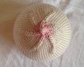 Boobie Beanie breastfeeding hat, newborn sized, white with light pink nipple