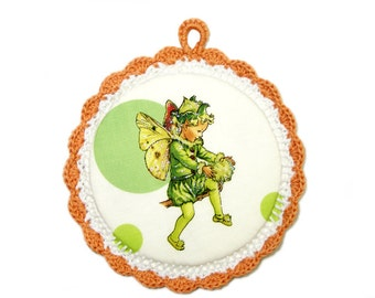 Fairy Tale - Fabric Picture in a Crochet frame - Wall art for kids room - Apple fairy fabric