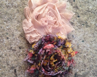 Fall tan and brown floral headband- infant size