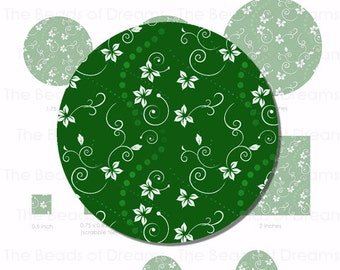 Digital collage sheet - I love green flowers - Different sizes in the same digital sheet - Digital images - INSTANT DOWNLOAD (cs0028)