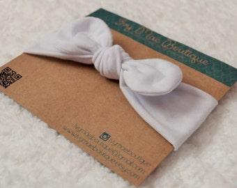White Knot Headband- Sizes newborn- toddler