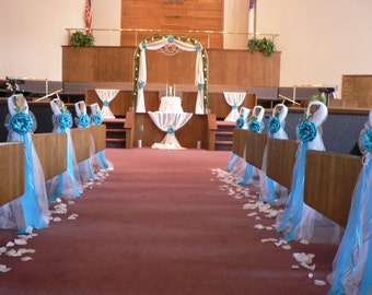 Turquoise Pew Bows Chair Elegant Wedding Church Aisle Decorations