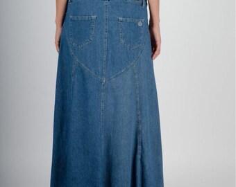 Long Denim Maxi Skirt