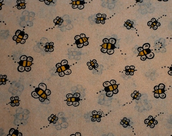 Buzzing Bumble Bees on Kraft Tan Tissue Paper .... 10 large sheets - Primitive