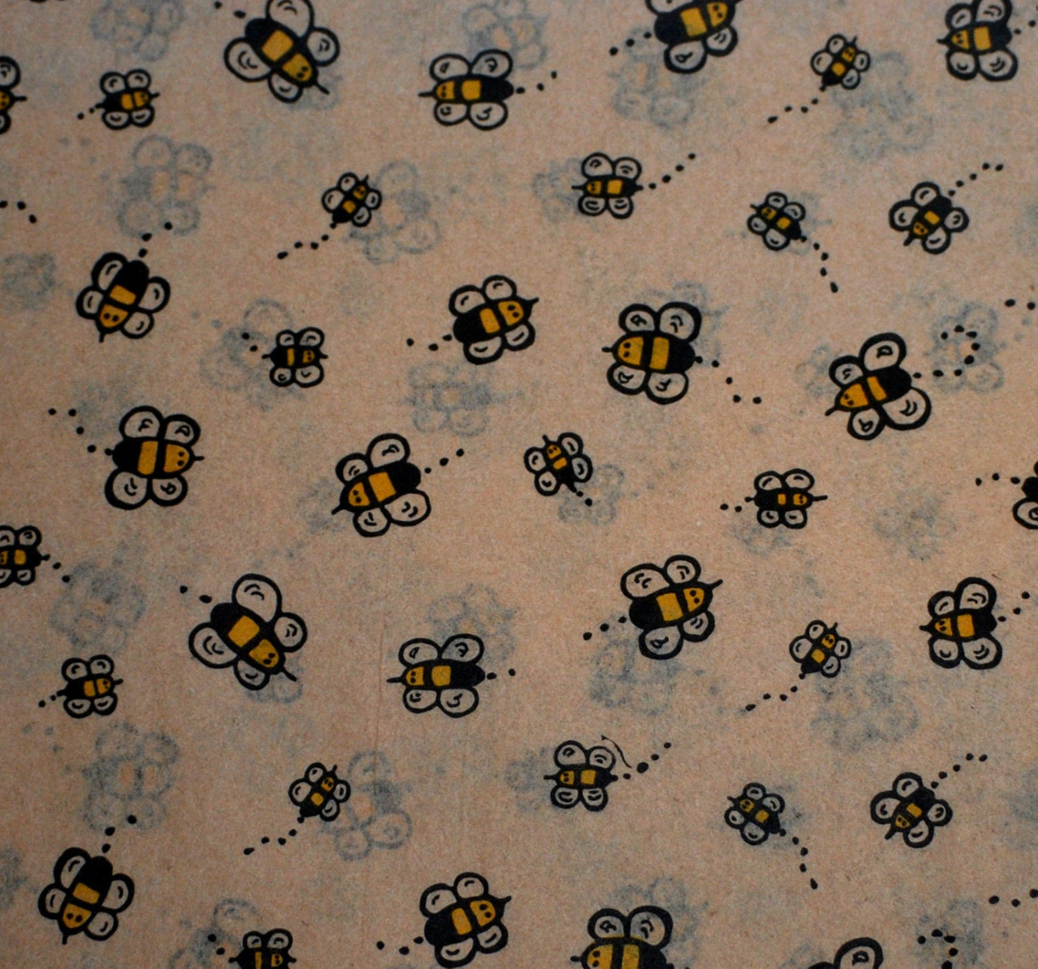 buzzing bumble bees on kraft tan tissue paper 10. Black Bedroom Furniture Sets. Home Design Ideas