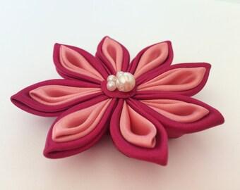 Burgundy and creamy pink satin kanzashi flower hair accessory or brooch