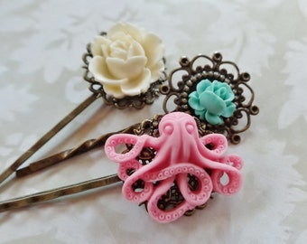 Pretty Pink Octo And Pastel Roses Hair Clips