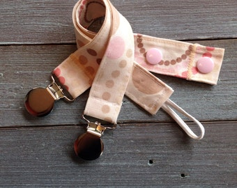Pacifier Clip, NUK, MAM, Soothie, Universal, Polka Dot, Baby Girl, Pink
