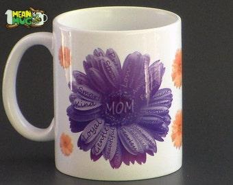 Mother's Day Gerbera Daisies Coffee Mug- Purple & Yellow Gerbera Daisies Mothers Day Gift- 11 oz  Mug Mothers Day Gift with Gerbera Daisy