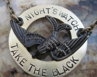 Game of Thrones -Night's Watch - Take the Black- Hand Stamped Necklace Jon Snow Ygritte The North