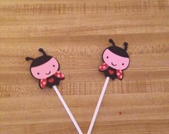Set of 12 Ladybug Cupcake Toppers