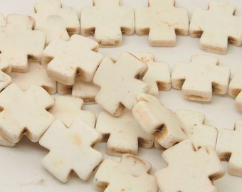 15x15  White  Cross  Beads   Magnesite  Crosses, Howlite Crosses  26pc