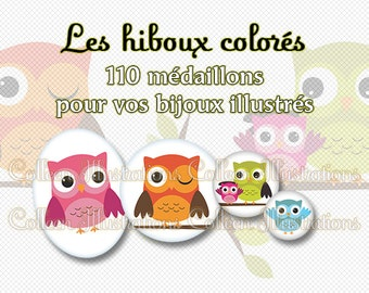 Digital Printable Collage Sheet - Hiboux colorés