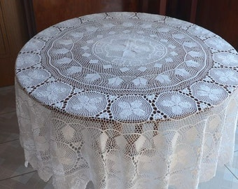 Huge size white color handmade crochet tablecloth Round, crochet pattern round table cloth for home decor