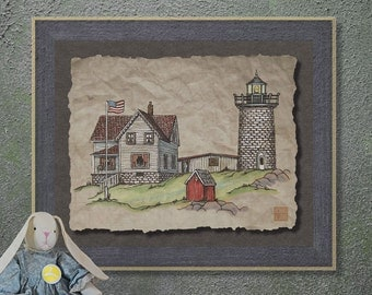 Nostalgic Nubble Lighthouse Art Whimsical yesteryear print adds cute seascape art to cabin wall decor as 8x10 or 13x19 nautical art