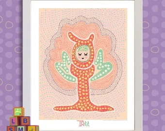 Whimsical dot art Cute tree fairy aboriginal inspired dot print adds to nursery or kids play room as 8x10 or 13x19 magical wall decor