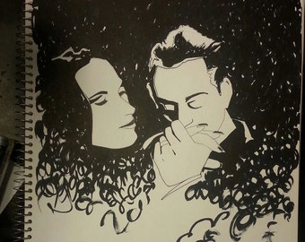 Gomez And Morticia Addams Family Drawing Love Kiss