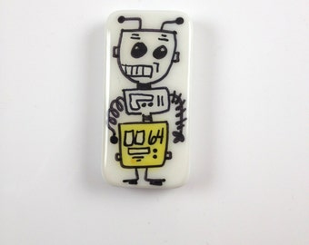 Peacebot # 64  Hand Painted Robot  Robot Art   Robot Jewelry  Robit Key Chain Robot Accessory