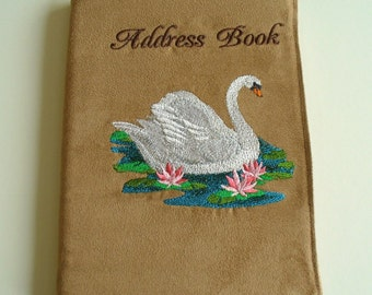 Fabric Covered Address Book with Swan Embroidery and A5 Address Book, Telephone Book