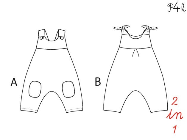 Baby overall sewing pattern, one piece, jumpsuit, romper, dungaree ...