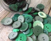 100 Vintage Plastic Green Buttons Different sizes Different shades of Green, Great for Crafts