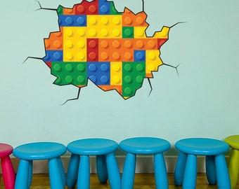 Building Block Bricks Wall Decal Colour Kids Bedroom Sticker Playroom Nursery Colourful