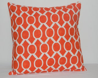 Orange pillow cover, Tangerine orange and White Geometric pillow cover, Housewarming gift, Fall pillow, pillow cover, Tangerine pillow cover